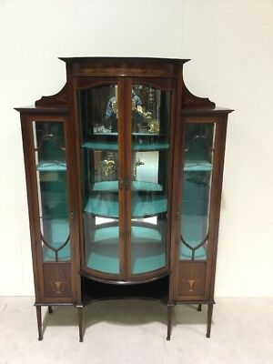 Edwardian Inlaid Mahogany Display Cabinet Superb Design Good Colour