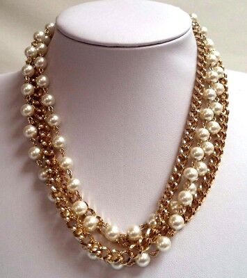"Stunning Vintage Estate Faux Pearl Gold Tone Chain Layered 36"" Necklace!!! 7954B"