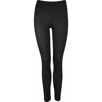 More Mile Graphic Ladies Long Workout Gym Run Fitness Tights  Patterned Black