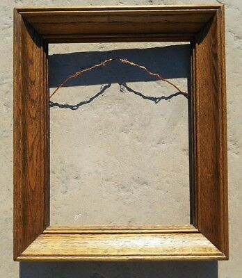 "Antique Tiger Oak Wood Picture Frame 10.5x13.5"" Picture Size 1.75"" Thickness"