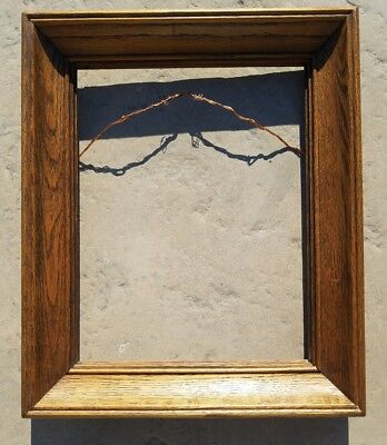 "Antique Tiger Oak Wood Picture Frame 14x18"" Picture Size 2"" Width"