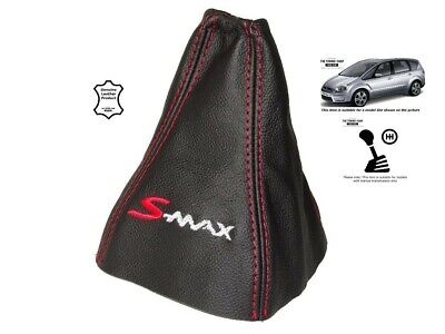 "Gear Gaiter For Ford S-MAX 2006-2008 Leather ""S-MAX"" Red Embroidery"