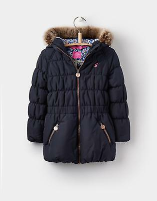 Joules 124395 Girls Merrydale Padded Coat With Fur Trim in Marine Navy