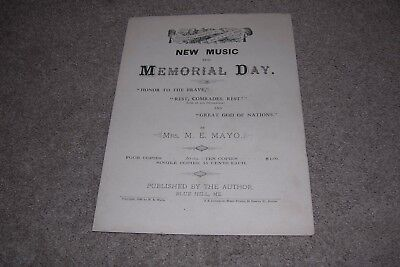 1886 New Music Memorial Day Dedicated to GAR of ME by Mayo Blue Hill Maine