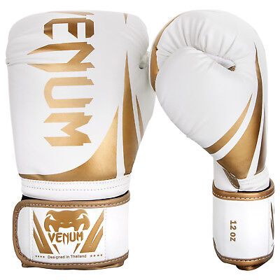 Venum Boxing Gloves Challenger 2.0 White Gold Sparring Thai Kickboxing 10-16oz