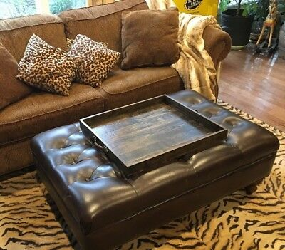 Rustic Reclaimed Wood Handmade 24 X 20 Ottoman Coffee Table Serving Tray Dark