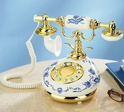 Antique Vintage Style 9005-HT Blue White Porcelain French Reproduction Phone NEW