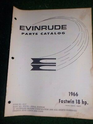 1966 OMC Evinrude Outboard Parts Catalog Manual 18 HP Fastwin Final Edition
