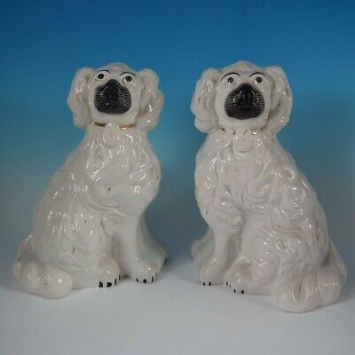 Pair Staffordshire 'Chunky' White and Gilt Spaniels