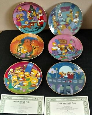 The Franklin Mint Porcelain The Simpsons Collectors Plates Lot Of 6 With 2 COA