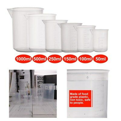 6Size 50/100/150/250/500/1000ml Plastic Graduated Beakers Measuring Cylinder Lab