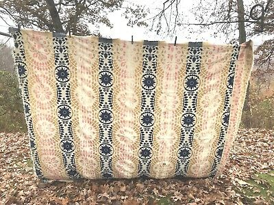 Antique Wool Jacquard Coverlet Vtg Woven Throw AS IS Project Primitive Fabric