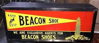 Vintage Art Deco 1920s 1930s Beacon Shoe Flashing Light Up Painted Glass Sign