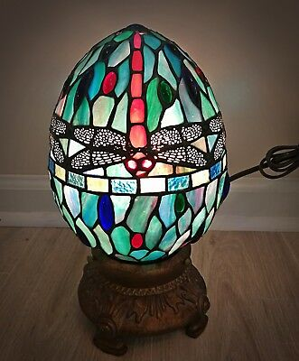 Dale Tiffany Style Red Dragonfly Blue Green Egg Accent Stained Glass Table Lamp