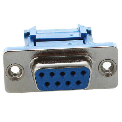 5 parts D-SUB 9-pin DB9 Female IDC crimp adapter plug for ribbon cable Blue J3Y4