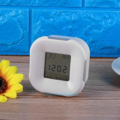 7 Color LED Glowing Digital Cube Alarm Clock Home Bedroom Aldults Kids XMAS Gift