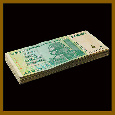 Zimbabwe 1 Billion Dollars x 100 Pcs (Bundle, Lot), 2008 AA P-83 Circulated
