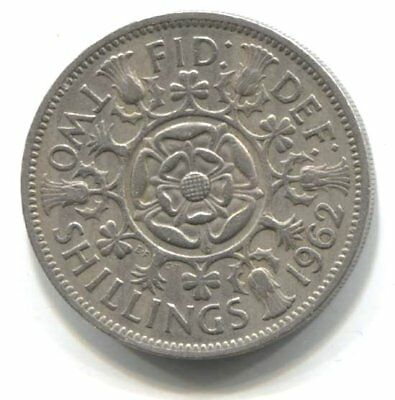 Great Britain 1962 Two Shilling Coin United Kingdom England Queen Elizabeth II