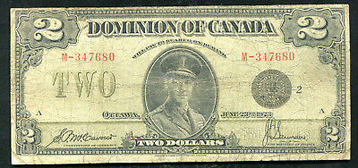 1923 $2 TWO DOLLARS DOMINION OF CANADA BANKNOTE McCAVOUR / SAUNDERS