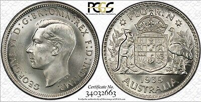 Australia 1938 Florin - Pcgs Graded Ms64+ Gem Uncirculated - Only 5 Finer