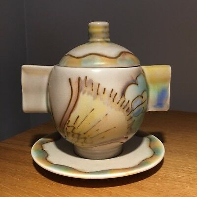 Fabulous Carlton Ware Art Deco Preserve Pot And Stand Tubelined Flowers Pattern