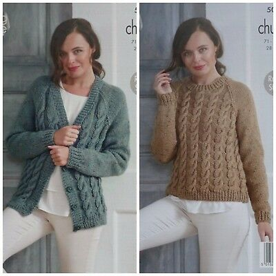 b84ce9fe8 KNITTING PATTERN Ladies Cable Cardigan   Jumper Chunky Tweed King Cole 5012