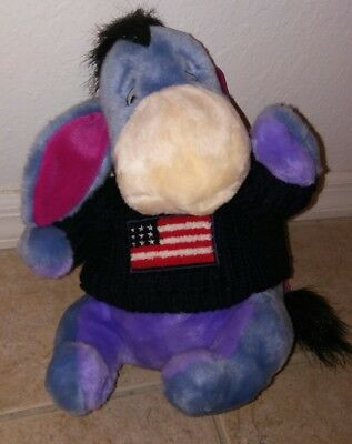 "DISNEY STORE Small 4th of July Eeyore 12"" Plush American Flag Sweater"