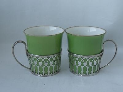 Pair of Sterling Silver & Green China Coffee Cups 1930/ H 5.5 cm