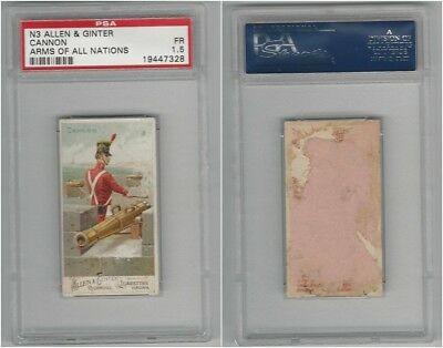 N3 Allen & Ginter, Arms of all Nations, 1887, Cannon, PSA 1.5 Fair