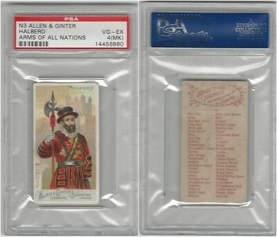 N3 Allen & Ginter, Arms of all Nations, 1887, Halberd, PSA 4 MK VGEX