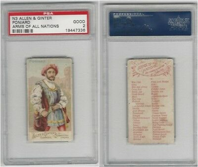 N3 Allen & Ginter, Arms of all Nations, 1887, Poniard, PSA 2 Good