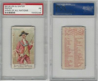 N3 Allen & Ginter, Arms of all Nations, 1887, Rapier, PSA 1