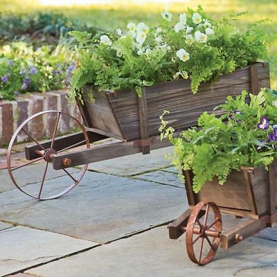 Large Wheelbarrow Planter Solid Wood With Steel Legs And Functional