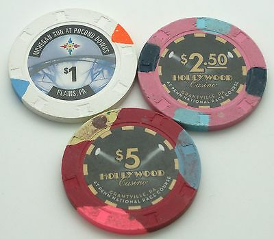 Set of 3 Mix Pennsylvania $1-$2.50-$5 Casino Chips Mohegan Sun-Hollywood Paulson
