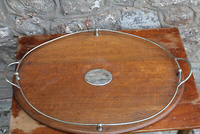 Large Vintage Antique Wooden Serving Tray 62cm Silver Plate / EPNS Breakfast
