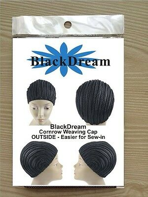 Stretch Cornrow Weaving Cap For Making Wigs,Col. Black With Adjustable Strap