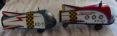 2X Damaged Vintage Space Ship Tin Japan Space Toys Xy-07 Xz-7 Good For Parts