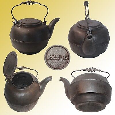 Antique Large Cast Iron Gooseneck Kettle With Bale Spring Handle & Signed Lid