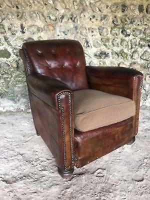 BEAUTIFUL ANTIQUE FRENCH LEATHER CLUB ARM CHAIR - VINTAGE C1930 superb condition