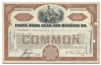 Foote Bros. Gear and Machine Co. Stock Certificate