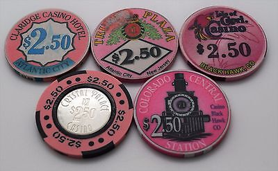 Set of 5 Mix Casino $2.50 Casino Chips Trump Plaza-Isle of Capri-Crystal Palace