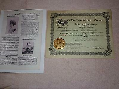 "1910 ""american Guild Banjoists,mandolinists & Guartists"" Certificate: H.f. Odell"