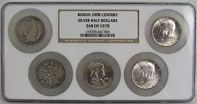 BINION 20th CENTURY SILVER HALF DOLLARS SET, #568 OF 1078 NGC CERTIFIED