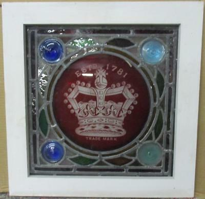 "OLD ENGLISH LEADED STAINED GLASS WINDOW Gorgeous Crown 17.75"" x 18.25"""
