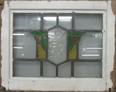 "OLD ENGLISH LEADED STAINED GLASS WINDOW Cute Abstract 17.75"" x 13"""