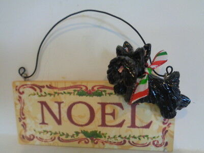 "Ooak*****black Scottish Terrier ""noel"" Decorative Wood Christmas Ornament*****"