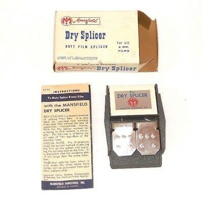 Vintage Mansfield Dry Splicer -- Butt Film Splicer for All 8 MM Film -- USA Made