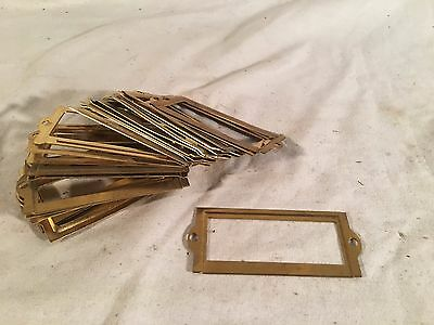 24 Vintage Brass Card File Cabinet Drawer Label Holders