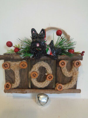 "New****black Scottish Terrier Decorated ""joy"" Wood Christmas Ornament***so Cute!"