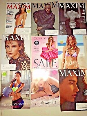 Lot of 4 Victoria's Secret Catalogs and 5 MAXIM Magazines 2015